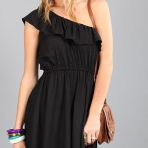 Cotton On One Shoulder Black Ruffle Romper Sz Sm